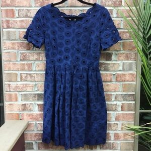J crew scalloped lace navy pleated dress